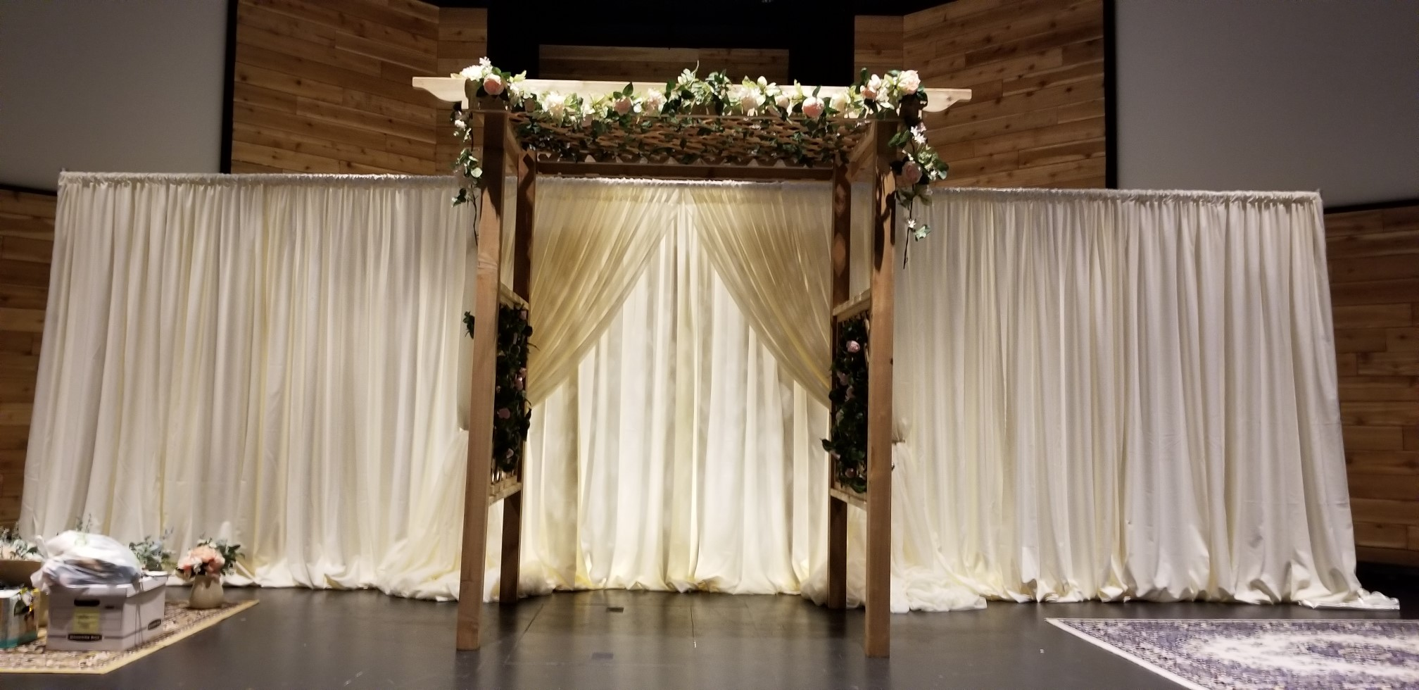 Ivory P&D Backdrop with Sheer Ivory Doorway