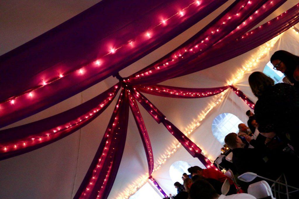 Lit Fabric Swags, Center Pole Lit & Fabric Draped, Ice Perimeter Lights