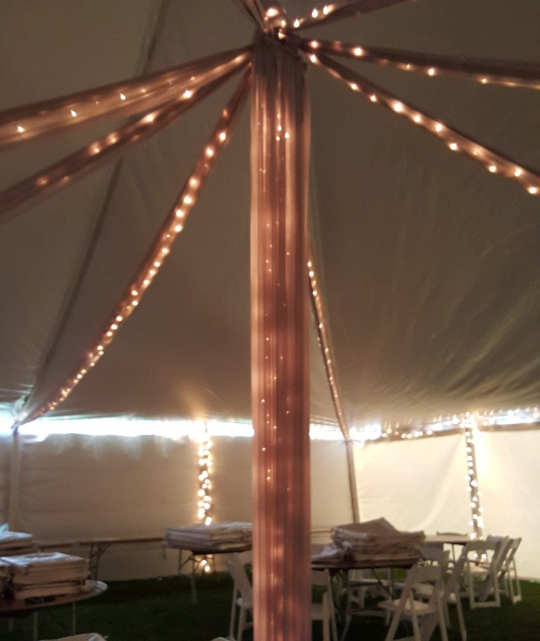Lit Fabric Swags, Lit Fabric Draped Center Pole, Ice Perimeter Lights & Lit Legs