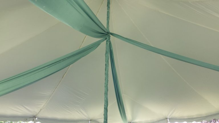 Lit Fabric Swags & Lit Wrapped Center Pole