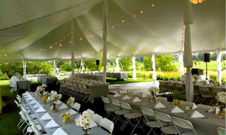 White Bistro Lights & Fabric Puffed Center Poles & Legs